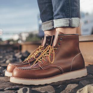 马丁靴男靴英伦皮靴子男士雪地短靴棉鞋冬季加绒保暖工装高帮男鞋