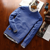 线衣青年秋冬季新款 毛衣男韩版 圆领加绒毛衫 男士 针织衫 男外套薄潮