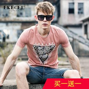 夏季新款男士短袖T恤 韩版印花圆领半袖体恤上衣潮男装夏潮牌短袖