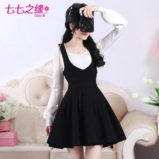七七之缘秋冬新款女装韩版 黑色v领蕾丝修身显瘦春秋背带裙连衣裙
