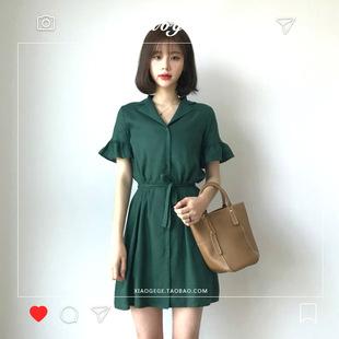 2019夏季新款韩版chic女装小个子收腰系带显瘦V领棉麻连衣裙短裙