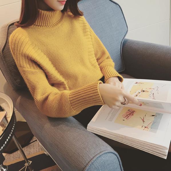 2016秋冬女装韩版高领套头毛衣女上衣加厚学生长袖宽松短款针织衫羊绒衫女
