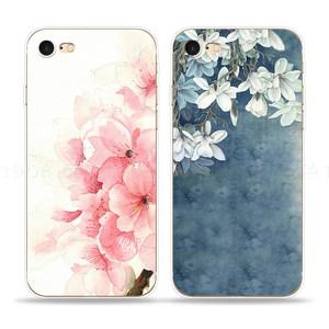 苹果iphone6/5/7/s/plus<span class=H>手机壳</span>软浮雕文艺小清新粉色桃花玉兰花朵