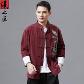 唐装 中式立领中国风棉麻复古男装 上衣刺绣汉服男手工盘扣民族服装