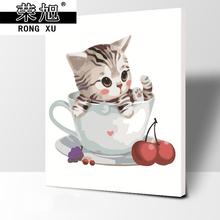 饰手绘工艺品家居挂画 新款 猫咪减压DIY数字油彩画风景现代客厅装