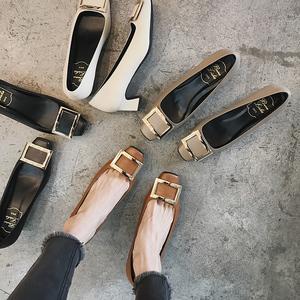 2018春季新款方头高跟鞋粗跟浅口百搭单鞋40焦糖色方扣小码女鞋32单鞋女