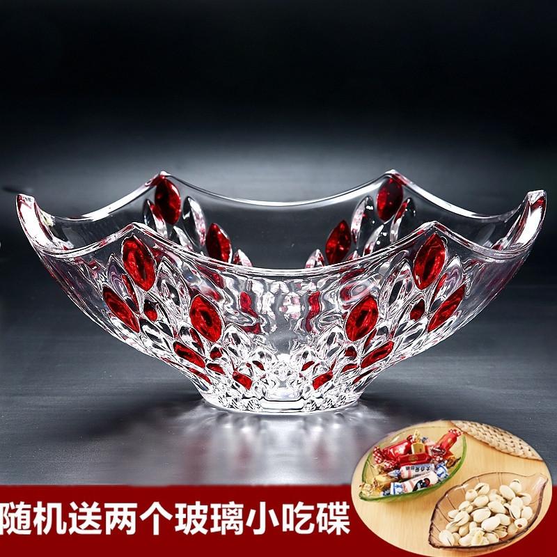 新款欧式创意现代水晶玻璃水果盘大号家用茶几客厅喜庆婚礼糖果图片