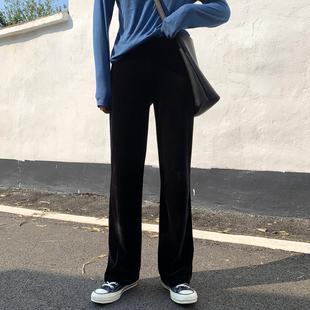 直筒褲2019春裝新款墜感闊腿褲高腰絲絨褲寬松金絲絨垂感拖地褲女