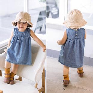 婴童装夏装宝宝牛仔裙背心裙公主裙子婴儿连衣裙纯棉韩版柔软薄款