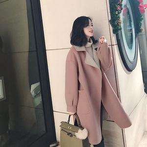 南瓜谷冬季翻领毛呢外套女中长款韩版手工双面呢子羊毛大衣MN060毛呢大衣