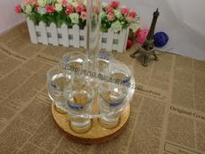 亚克力子弹杯架 12孔6头酒架 圆形旋转酒杯架 拆装式子弹杯架带杯
