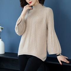 羊绒衫女套头短款灯笼袖半高领毛衣针织衫加厚宽松胖mm加肥加大码