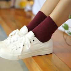 外拉毛日系短袜子女秋冬保暖韩国学院风百搭竖条纹纯色简约袜子