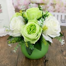 仿真花艺套装摆件桌面陶瓷圆球花瓶客厅家居装饰品摆设玫瑰花插花