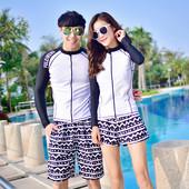韩版分体显瘦情侣男女长袖速干防晒潜水服泳衣拉链浮潜水母衣外套