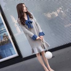 秋冬款胖mm拼接针织打底衫加大码女装中长款宽松蝴蝶结T恤连衣裙