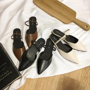 <span class=H>包头</span>半拖鞋女2018新款<span class=H>凉拖</span>女夏外穿复古平底鞋两穿<span class=H>尖头</span>时尚穆勒鞋