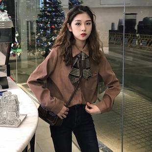 秋季女装韩版新款翻领丝带领结百搭打底衬衫宽松休闲长袖衬衣上衣