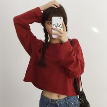 秋装女装新款韩版宽松百搭短款长袖纯色T恤露脐上衣打底衫学生潮