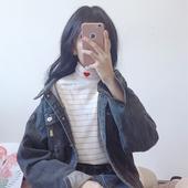 女装 百搭爱心刺绣修身 条纹半高领长袖 T恤学生上衣打底衫 秋装 韩版