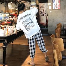 夏季女装韩版中长款宽松卡通原宿风短袖T恤显瘦上衣+格子休闲裤潮