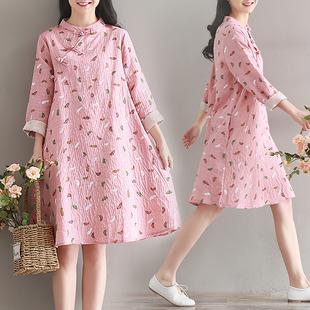 旗袍 少女 清新淡雅秋装女2018新款复古改良版宽松长袖棉麻连衣裙