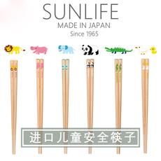 日本进口儿童筷子学习训练筷子卡通可爱筷子原木实木环保安全筷子