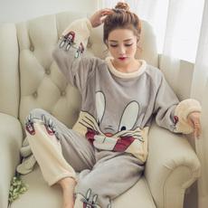 2015秋冬季女人睡衣棉质长袖加绒加厚翻领女款夹层家居服套装包邮