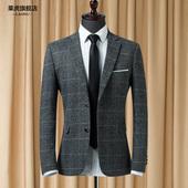 春秋季新款修身时尚英伦格子小西装男士韩版休闲西服男装单西外套