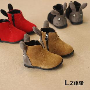 女童雪地靴加绒马丁靴棉鞋小宝宝鞋真皮短靴1-2-3岁韩版可爱童鞋