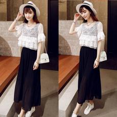 夏季韩版短袖网纱罩衫沙滩吊带无袖背心长裙两件套装雪纺连衣裙潮