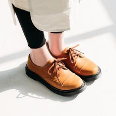初履2018新款摔纹打蜡牛皮平底鞋文艺复古系带小皮鞋女学生休闲鞋