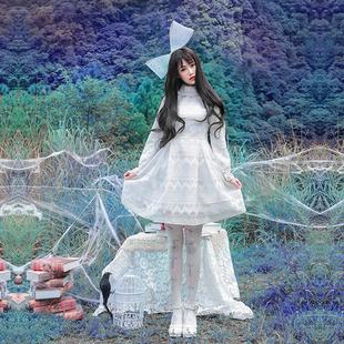 诺里 诺克咒语 白色甜美修身长袖蕾丝连衣裙秋冬打底短裙公主裙女