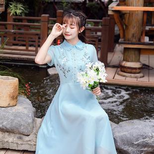 2019新款棉麻连衣裙长款A型旗袍刺绣女裙子复古淑女文艺范民族风