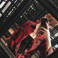 大瓶UNIHOME定制 2017新款高质感撞色韩版长袖宽松红格子衬衫女