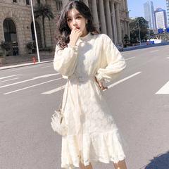 蕾丝连衣裙秋冬季2018新款中长款长袖仙女装内搭打底裙子加绒加厚