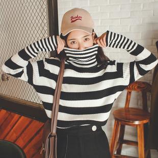 2016秋冬套头高领黑白条纹毛衣女 韩版宽松百搭长袖针织衫打底衫