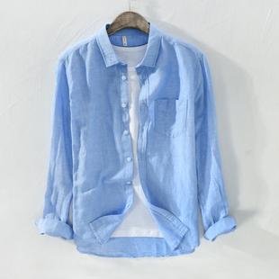 春季亚麻衬衫男士长袖商务休闲方领棉麻衬衣青年口袋薄款麻料上衣