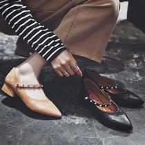 女粗跟懒人鞋 女中跟春季2018新款 玛丽珍鞋 小红人尖头单鞋 女铆钉鞋