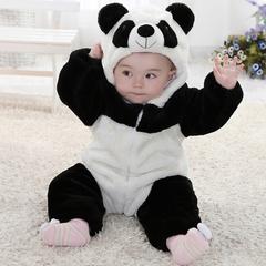 婴儿连体衣冬季宝宝熊猫哈衣新生儿动物造型连体衣加厚儿童爬服冬