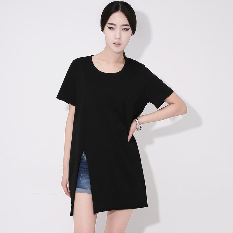 2018夏装新品韩国欧美范高开叉宽松大码中长款纯棉短袖t恤女显瘦图片