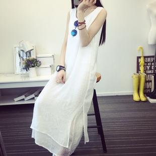 2018夏季文艺棉麻无袖吊带裙子白色亚麻长款打底连衣裙女背心长裙
