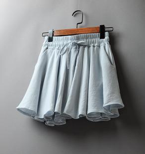 夏季女装松紧腰半身裙高腰不规则短裙2018系带棉麻防走光女裙裙子