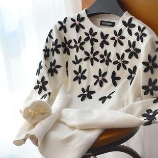 韩版长袖兔毛毛衣女秋冬套头宽松加厚重工刺绣短款针织打底线衫女