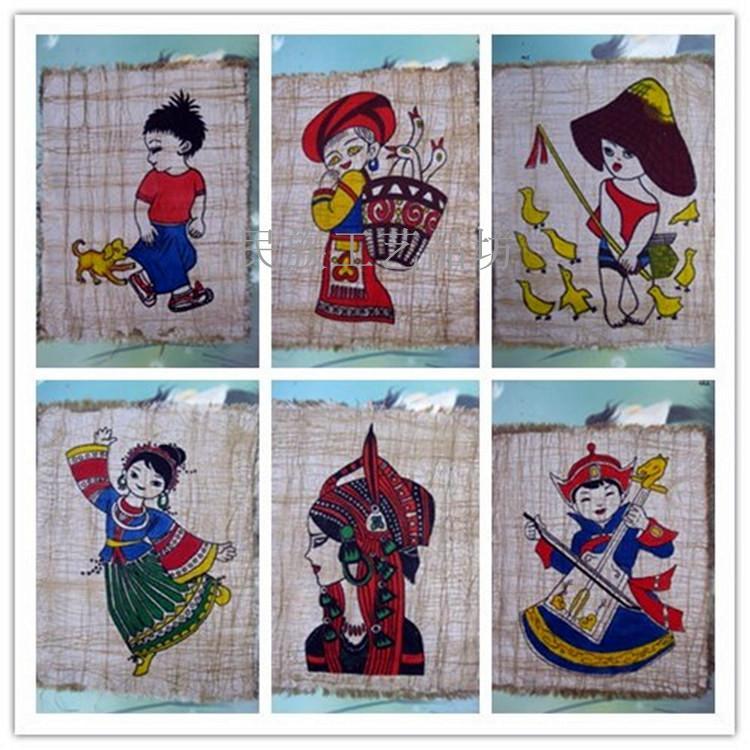 贵州民族蜡染画布画纯手工布艺幼儿园墙面装饰壁挂画缺货随机发货