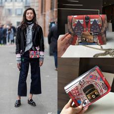 2017春夏刘雯同款包非洲面具涂鸦小方包单肩斜挎链条迷你女士小包