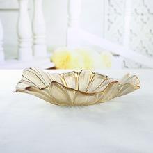 现代简欧水晶珠光玻璃果盘客厅茶几家居饰品KTV实用装 饰器皿摆件