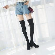 冬季加绒显瘦弹力长靴高筒瘦腿靴内增高过膝长靴圆头平跟长筒女靴