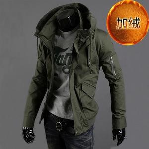 军装夹克男青年韩版修身军绿色休闲上衣服秋冬薄款工装加绒厚外套男士外套