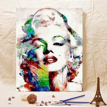 饰画梦露 diy数字油画大幅人物自己手绘填色油彩家居客厅房间装
